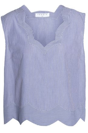 SANDRO Paris Scalloped pinstriped crepe top