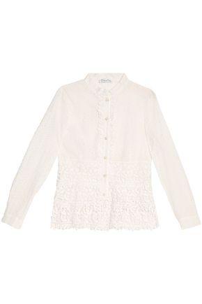 OSCAR DE LA RENTA Broderie angalise cotton blouse