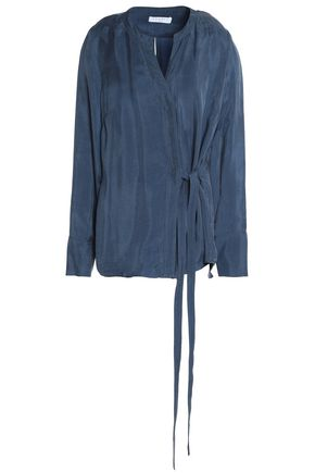 SANDRO Paris Wrap-effect twill top