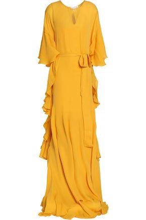 OSCAR DE LA RENTA Draped ruffled silk-chiffon gown