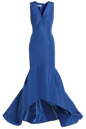 OSCAR DE LA RENTA Flared silk duchesse-satin gown