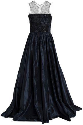 OSCAR DE LA RENTA Mesh-paneled embellished taffeta gown