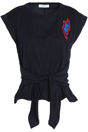 SANDRO Paris Tie-front appliquéd cotton-jersey top