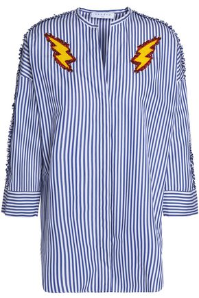 SANDRO Appliquéd striped cotton-poplin shirt