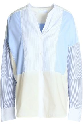 SANDRO Paris Oversized paneled striped cotton-poplin shirt