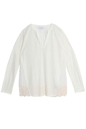SANDRO Lace-trimmed georgette-paneled slub linen top