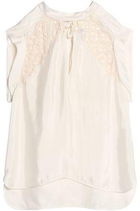 SANDRO Paris Lace-paneled twill top