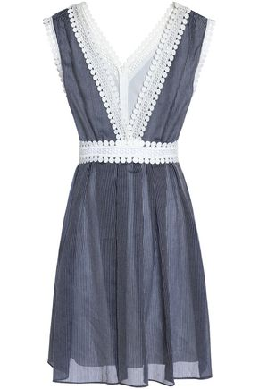 SANDRO Paris Guipure lace-trimmed pinstriped gauze mini dress