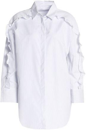 SANDRO Paris Ruffle-trimmed pinstriped cotton-poplin shirt