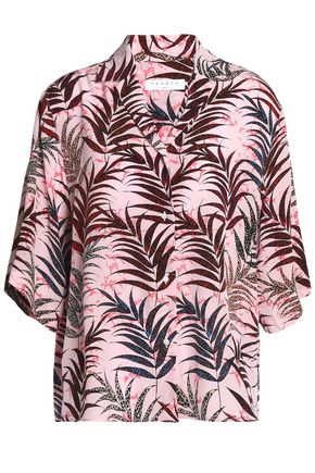 SANDRO Printed silk-georgette shirt