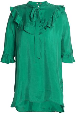 SANDRO Paris Pussy-bow ruffle-trimmed satin-twill blouse