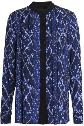 PROENZA SCHOULER Pleated printed silk blouse