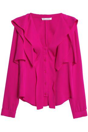 OSCAR DE LA RENTA Layered stretch-silk blouse