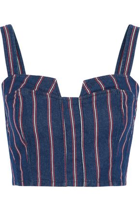 3x1 Tabby cropped striped denim top