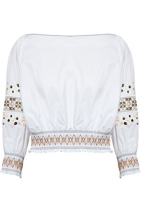 TIBI Cropped embroidered cotton-poplin top