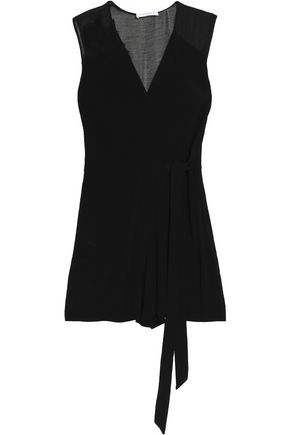SANDRO Paris Tie-front crepe playsuit