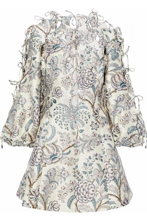 ZIMMERMANN Adorn bow-detailed floral-print wool and silk-blend faille mini dress