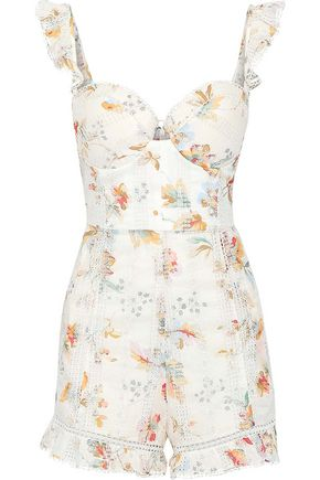 ZIMMERMANN Ruffled floral-print broderie anglaise cotton playsuit