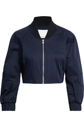 TIBI Cropped stretch-cotton satin bomber jacket
