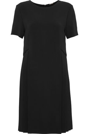 ADAM LIPPES Pleated-paneled crepe mini dress