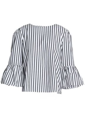 ALICE+OLIVIA Bernice striped cotton-poplin blouse
