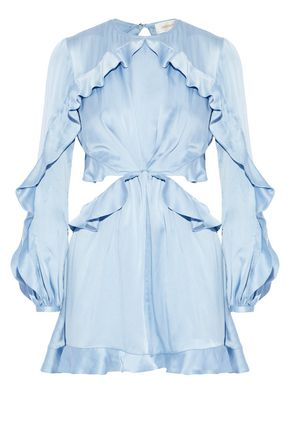 ZIMMERMANN Open-back ruffle-trimmed washed-silk playsuit