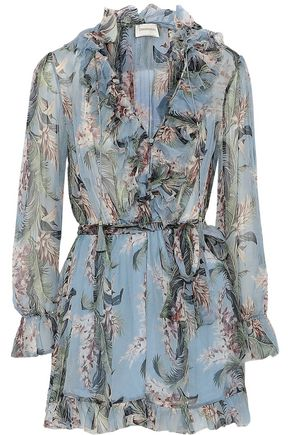 ZIMMERMANN Ruffle-trimmed floral-print silk-georgette playsuit