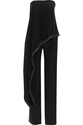 ADAM LIPPES Strapless layered silk-cady jumpsuit