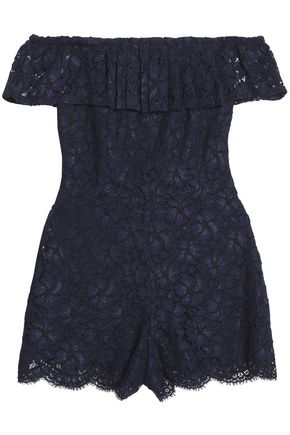 SANDRO Paris Off-the-shoulder corded lace playsuit