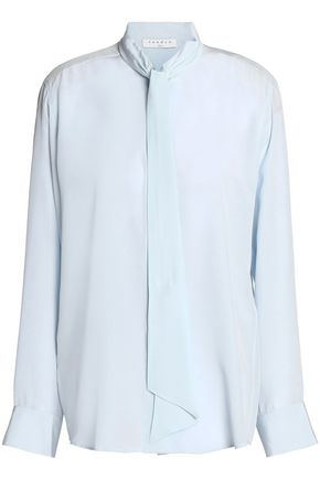 SANDRO Draped silk-georgette blouse