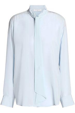SANDRO Paris Draped silk-georgette blouse