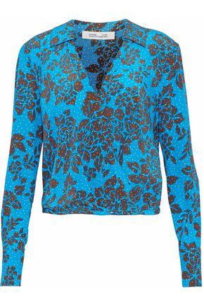 DIANE VON FURSTENBERG Floral-print silk crepe de chine wrap top