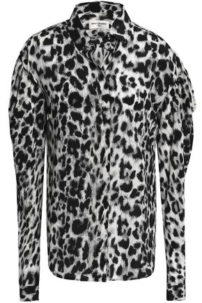 SAINT LAURENT Leopard-print silk crepe de chine shirt