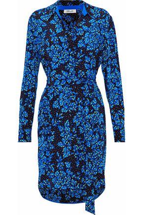 DIANE VON FURSTENBERG Belted printed silk crepe de chine shirt dress
