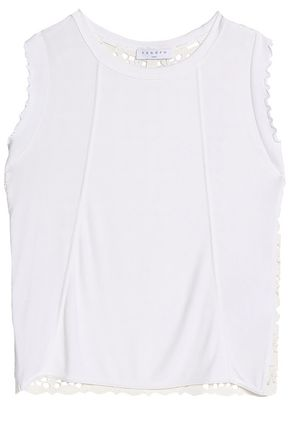 SANDRO Paris Guipure lace-paneled stretch-jersey top