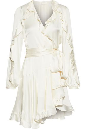 ZIMMERMANN Ruffle-trimmed washed-silk wrap mini dress