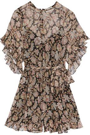 ZIMMERMANN Bowerbird ruffle-trimmed crinkled floral-print silk-georgette playsuit
