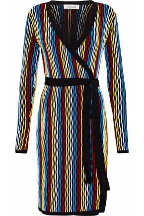 DIANE VON FURSTENBERG Color-block ribbed merino wool-blend wrap dress