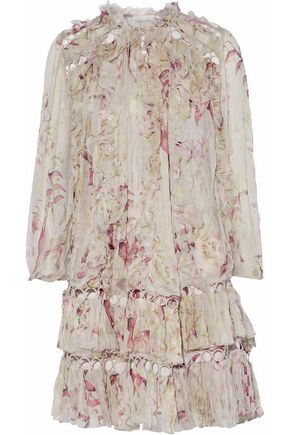 ZIMMERMANN Winsome Sphere ruffled floral-print silk-georgette mini dress