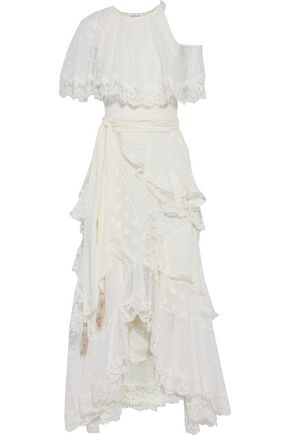 ZIMMERMANN Asymmetric lace-up Swiss-dot, lace and fil coupé silk-blend midi dress
