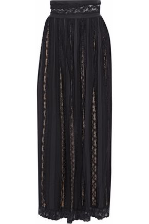 PIERRE BALMAIN Lace-paneled crepe de chine maxi skirt