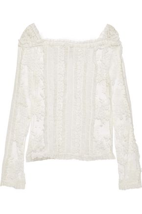 ZIMMERMANN Ruffle-trimmed cotton-blend lace and point d'esprit top