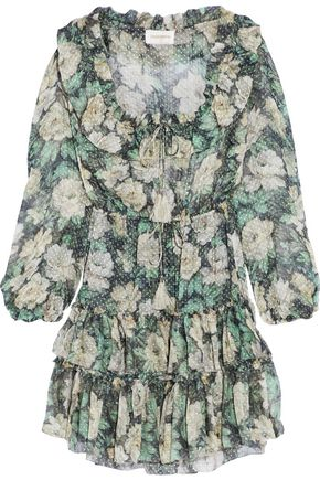 ZIMMERMANN Bowerbird ruffled floral-print fil coupé silk-blend mini dress