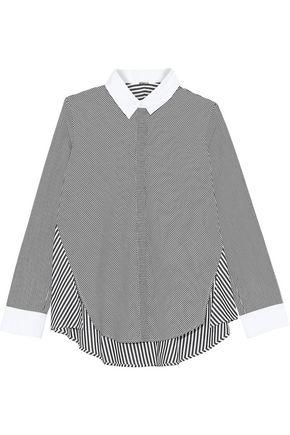 ADAM LIPPES Paneled striped cotton-poplin shirt