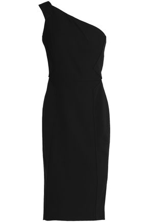 ROLAND MOURET One-shoulder cotton-piqué and ponte dress
