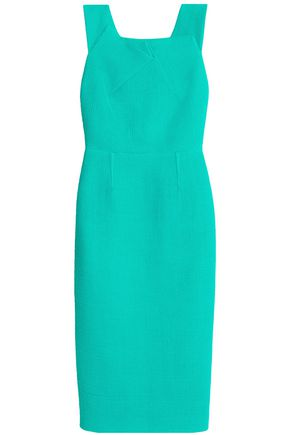 ROLAND MOURET Pleated cotton-blend piqué dress