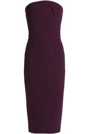 ROLAND MOURET Strapless pleated wool-crepe dress
