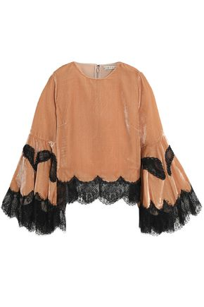 ALICE + OLIVIA Lace-trimmed ruffled velvet top