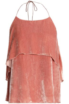 ALICE + OLIVIA Marybeth layered velvet halterneck top