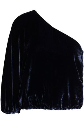 ALICE + OLIVIA One-shoulder velvet top